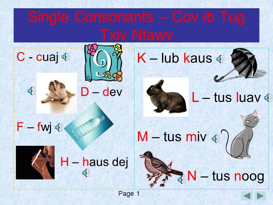 Single Consonants – Cov ib Tug Txiv Ntawv