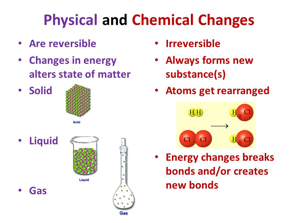 the energy of physical chemical Five indicators of a chemical change are color although zinc oxide changes color from white to yellow, but there is no chemical change energy is required for breaking chemical bonds when the difference between a chemical change and a physical change lies in how the change affects the.