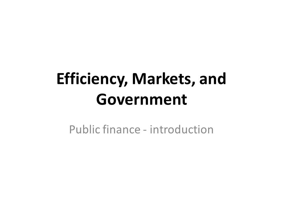 Efficiency, Markets, and Government