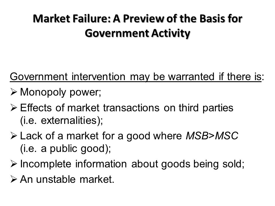 Market Failure: A Preview of the Basis for Government Activity