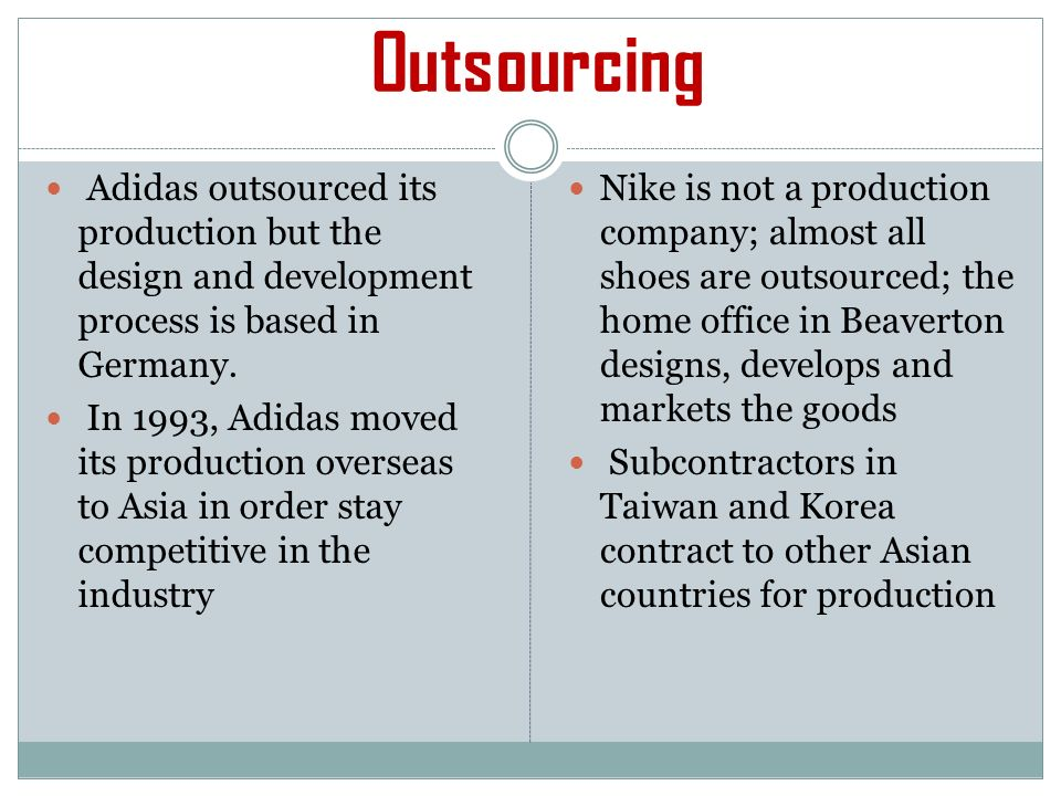 adidas outsourcing Alex lach lists five important factors about the overseas outsourcing industry and how it affects american workers.