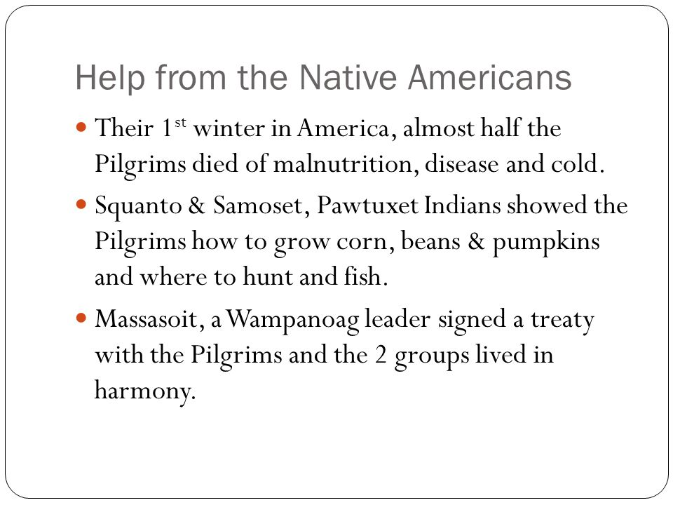 Help from the Native Americans