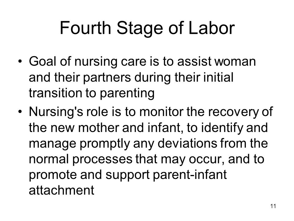Fourth Stage of Labor Goal of nursing care is to assist woman and their partners during their initial transition to parenting.