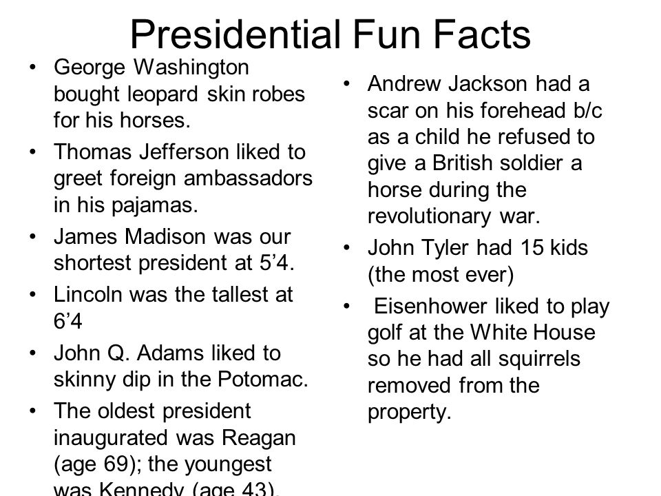 U s president ppt video online download for Fun facts white house