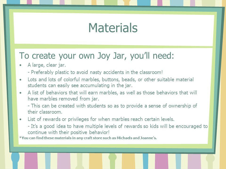 The Joy Jar Classroom Management Ppt Video Online Download