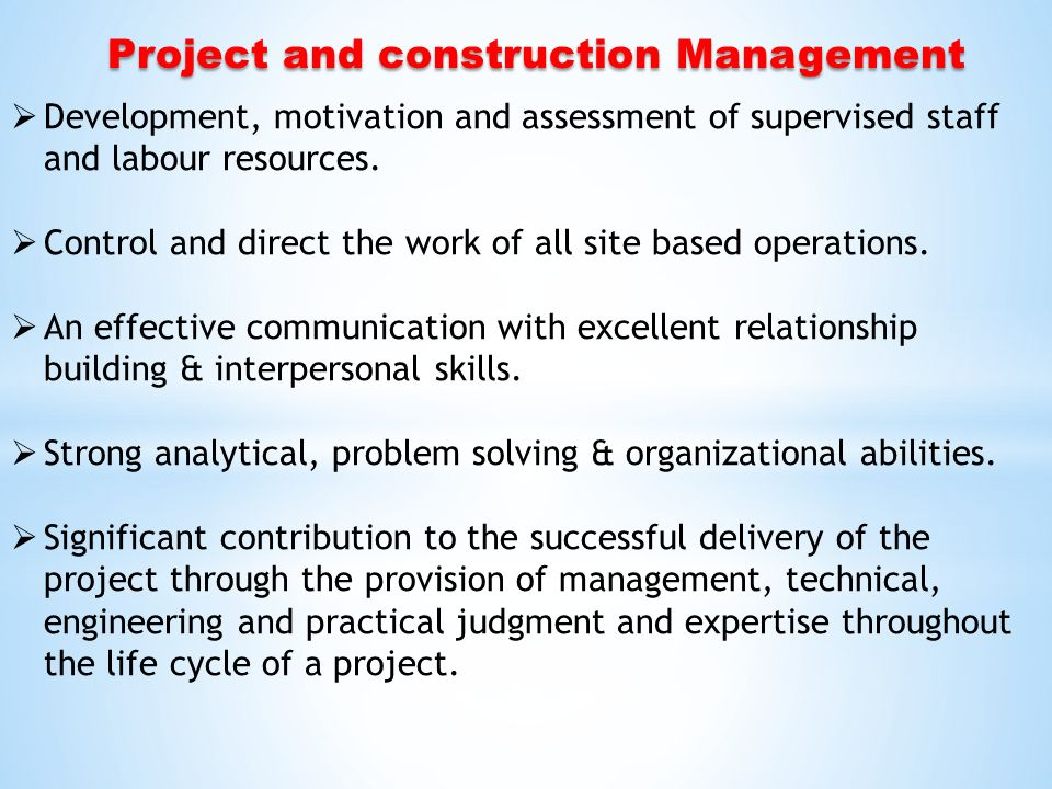 motivation project management and construction Are you a natural leader who knows how to motivate others, communicate your   from construction to finance, project managers are needed in countless types.