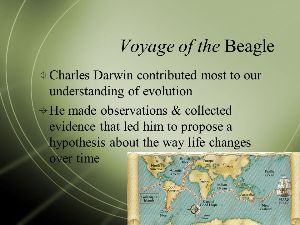 Voyage of the Beagle Charles Darwin contributed most to our understanding of evolution.