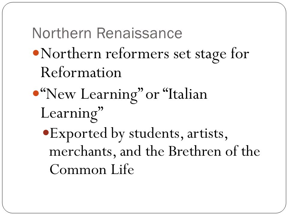 the differences between the italian and northern renaissance Ap european history sample leq (comparison) prompt: evaluate the extent to which the italian renaissance and the northern renaissance were different from each other prewriting: italian renaissance northern renaissance individualistic and secular machiavelli, the prince castiglione, the courtier.