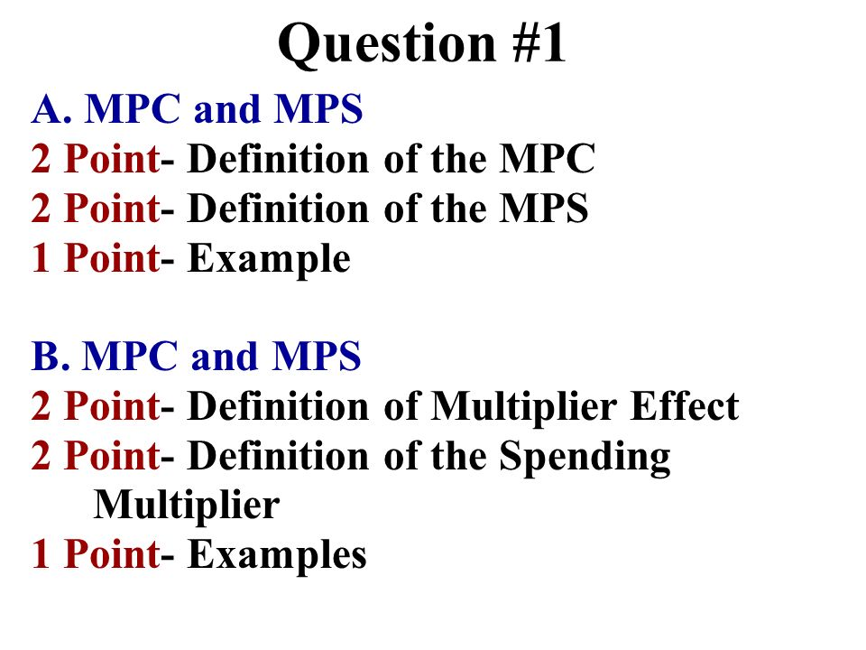 Question #1 A. MPC and MPS 2 Point- Definition of the MPC