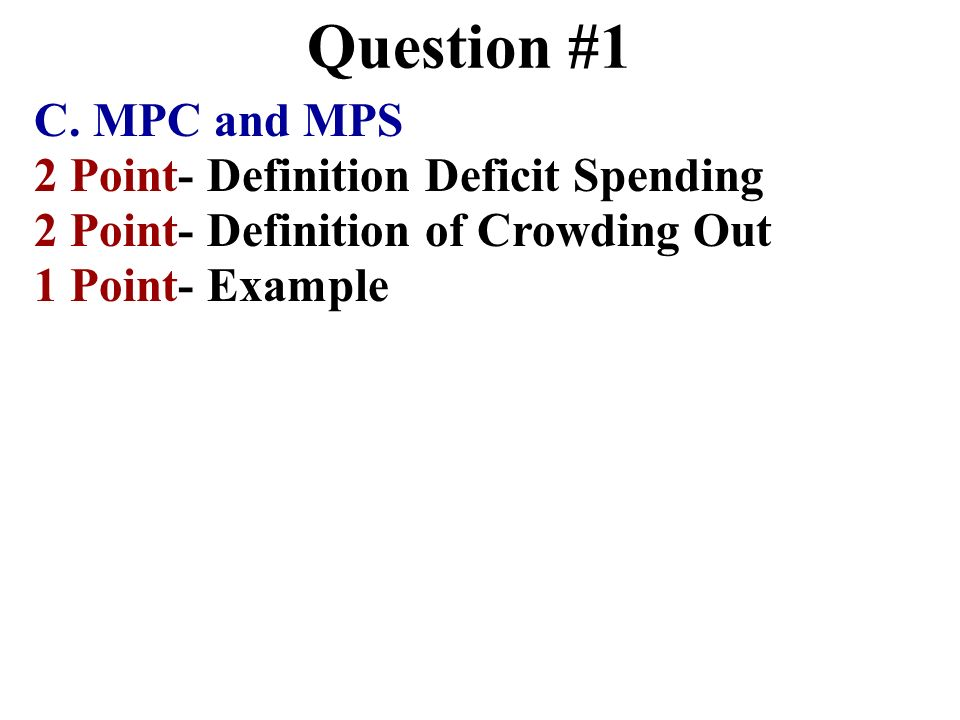 Question #1 C. MPC and MPS 2 Point- Definition Deficit Spending