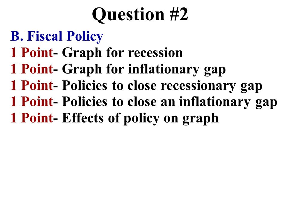 Question #2 B. Fiscal Policy 1 Point- Graph for recession