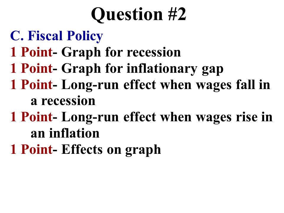 Question #2 C. Fiscal Policy 1 Point- Graph for recession