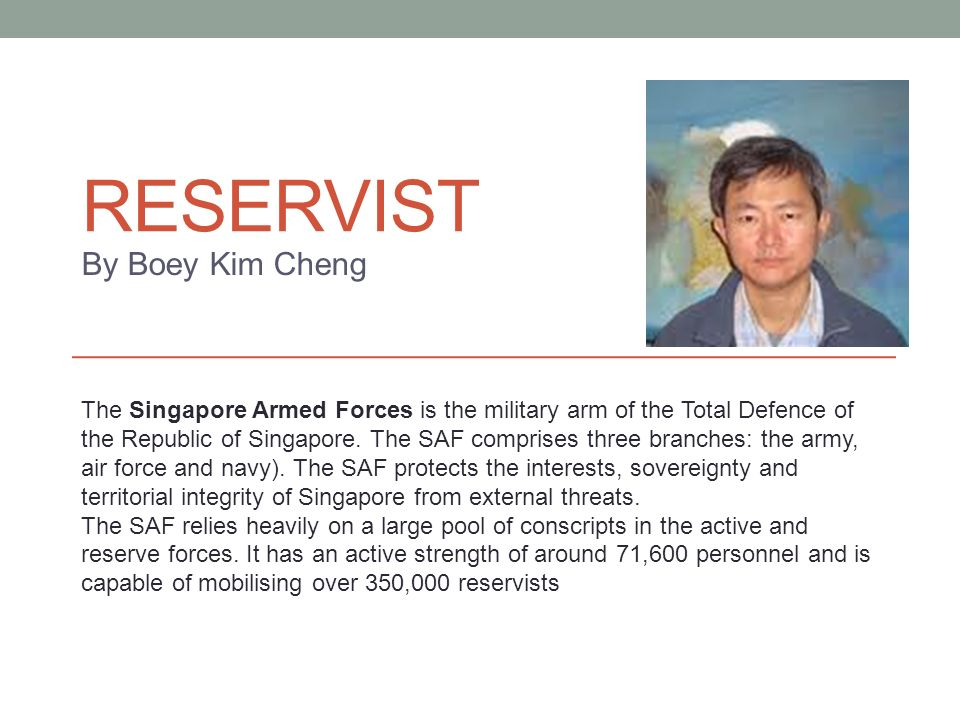 Reservist By Boey Kim Cheng - ...