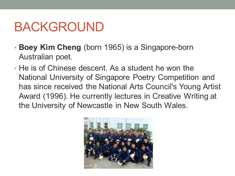the reservist by boey kim cheng Reservist: the reservist by boey kim cheng, who is a singaporean poet who migrated to australia, is a ballad that dissertation on project management has the characteristics of a free verse.