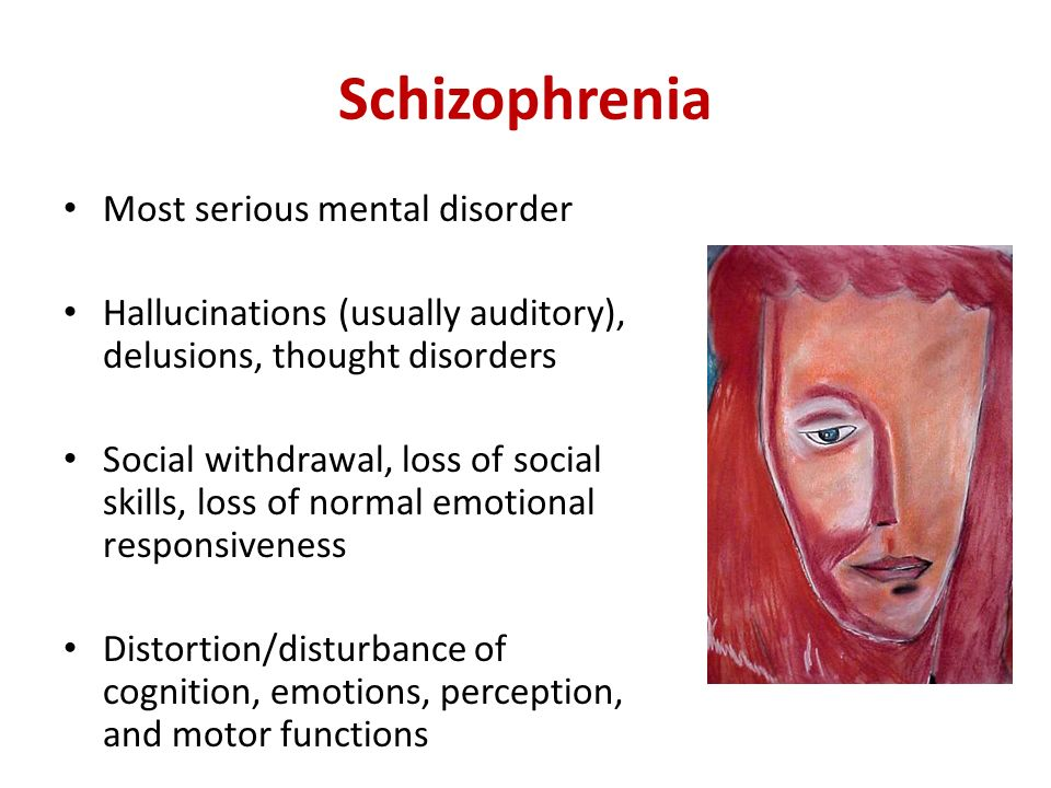a description of schizophrenia as a common mental disorder Paranoid schizophrenia represents the most common of the many sub-types of the debilitating mental illness known collectively as schizophreniapeople with all types of schizophrenia become lost in psychosis of varying intensity, causing them to lose touch with reality.
