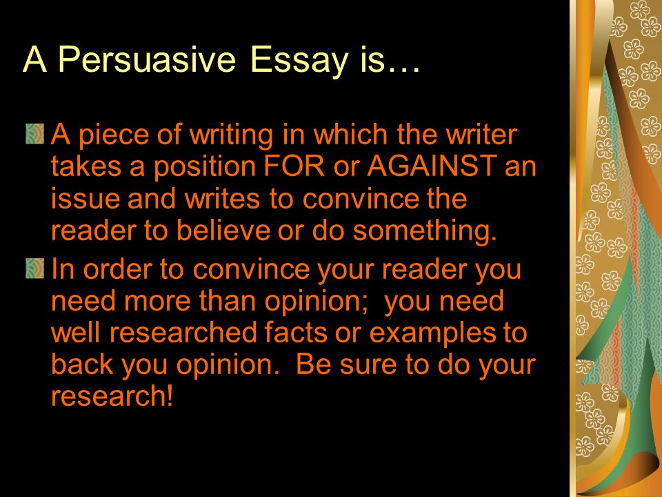 what elements should be included in an introduction of a persuasive essay