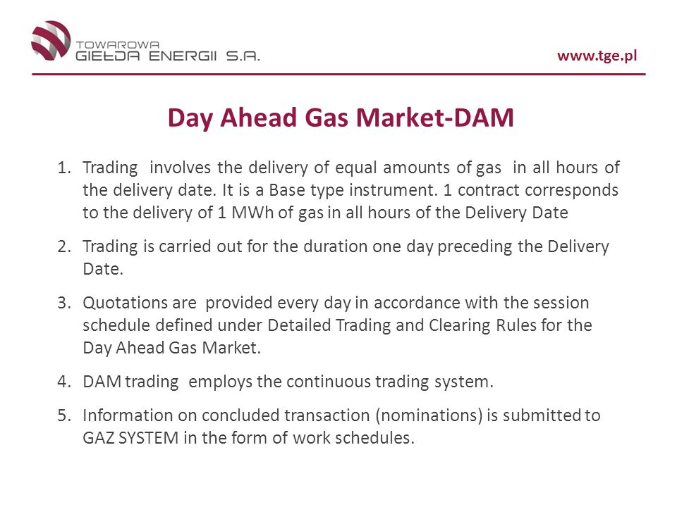 Day Ahead Gas Market-DAM