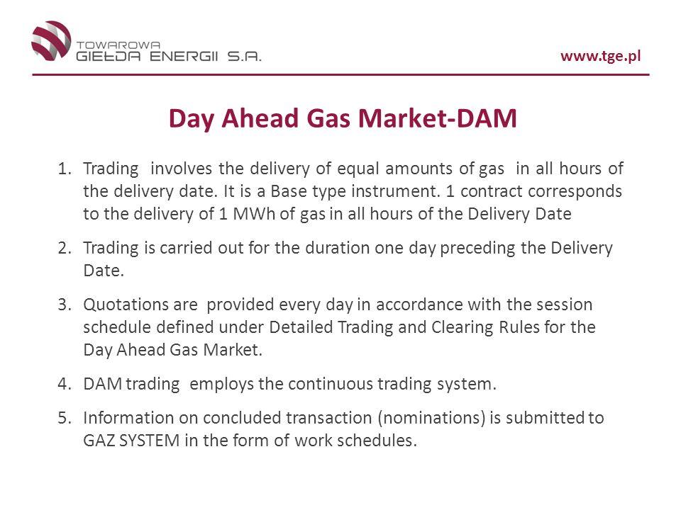 Day Ahead Gas Market-DAM