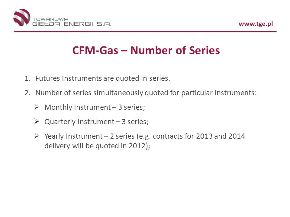CFM-Gas – Number of Series