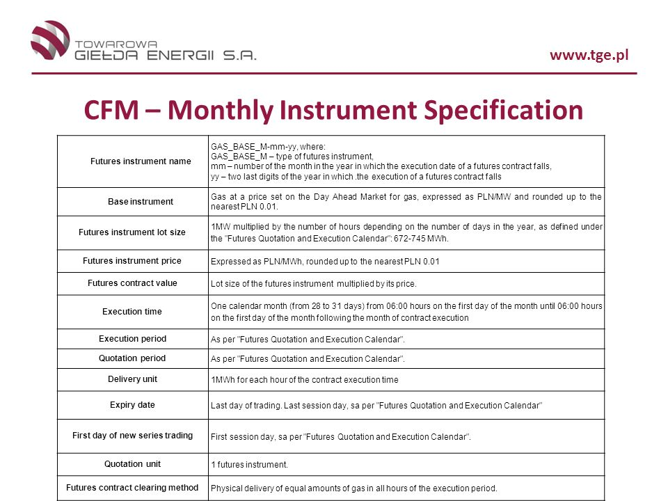 CFM – Monthly Instrument Specification