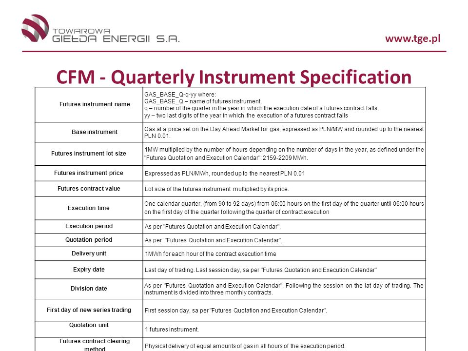 CFM - Quarterly Instrument Specification