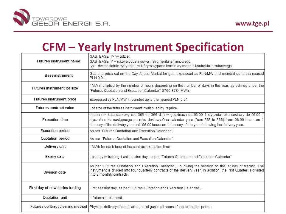 CFM – Yearly Instrument Specification