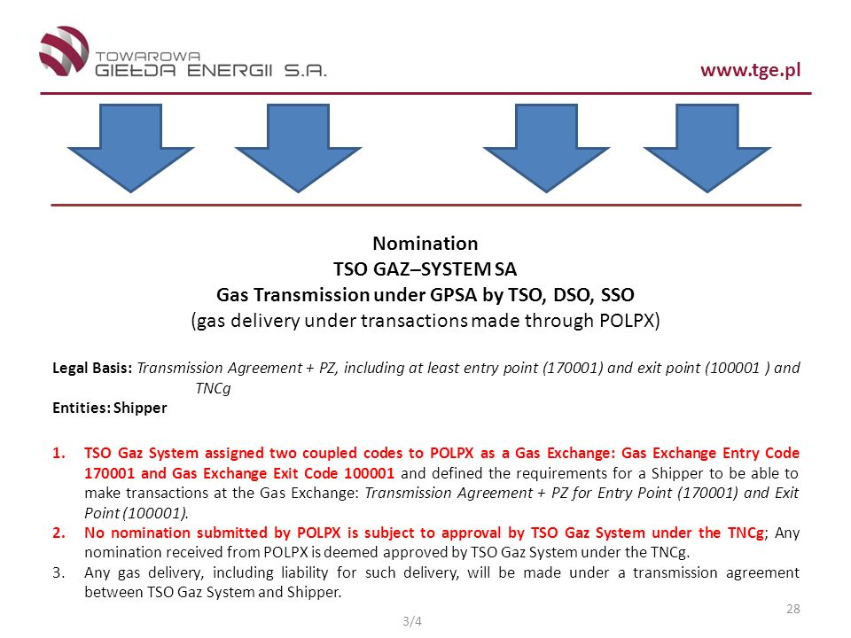 Gas Transmission under GPSA by TSO, DSO, SSO