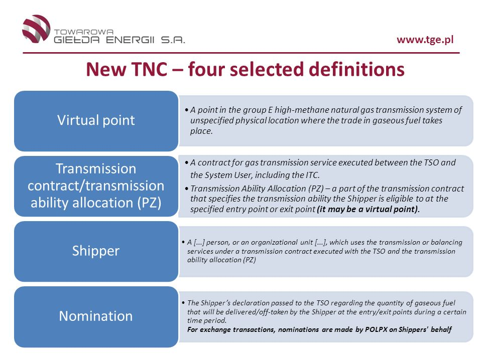 New TNC – four selected definitions