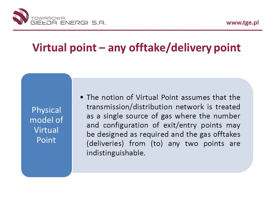 Virtual point – any offtake/delivery point