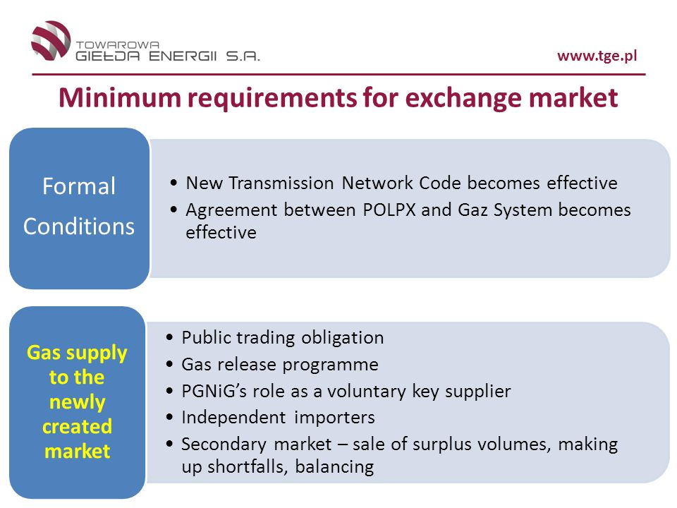 Minimum requirements for exchange market