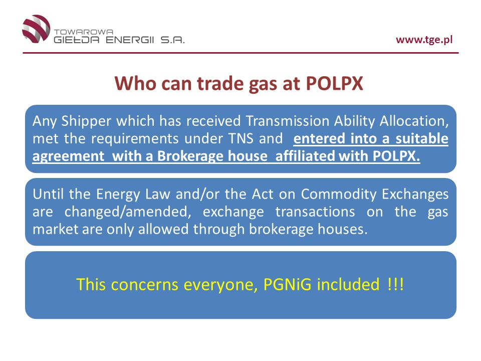 Who can trade gas at POLPX