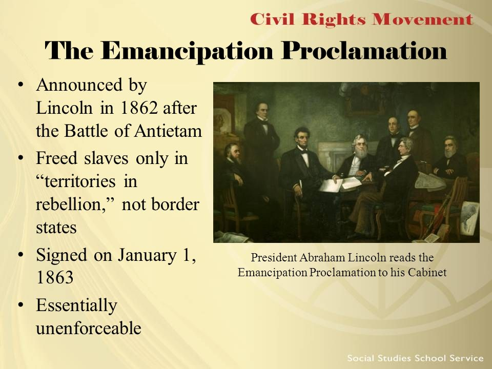 the purpose of the emancipation proclamation by president abraham lincoln An article about president abraham lincoln issuing the preliminary emancipation proclamation on 22 september 1862, to free the confederacy's slaves.