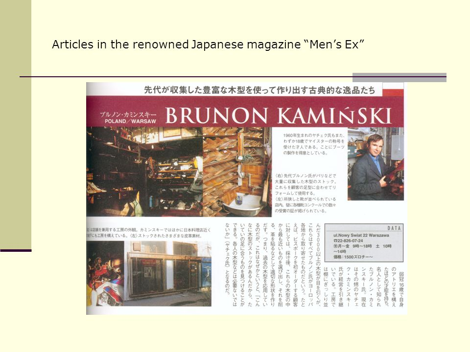 Articles in the renowned Japanese magazine Men's Ex