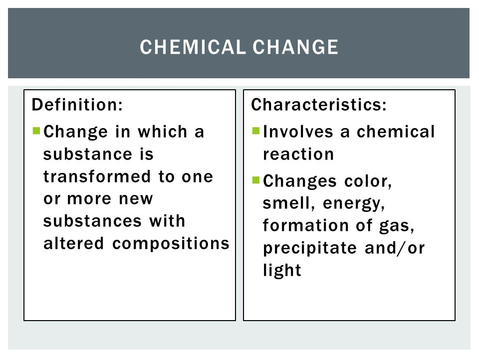 how to identify a chemical change