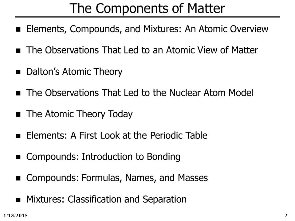 components of matter Start studying unit 2: the components of matter learn vocabulary, terms, and more with flashcards, games, and other study tools.