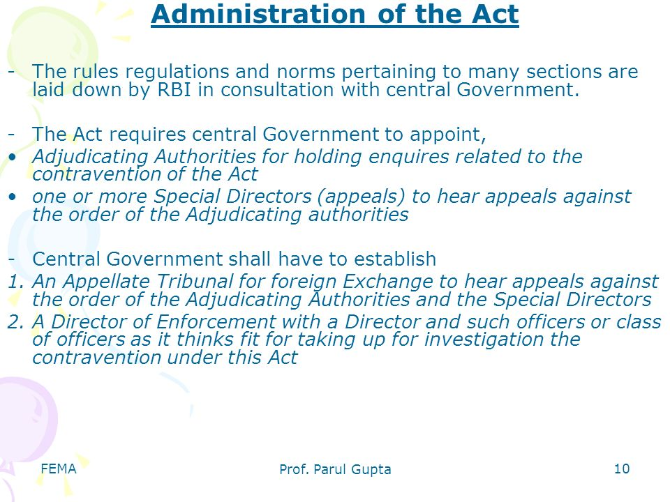 Administration of the Act