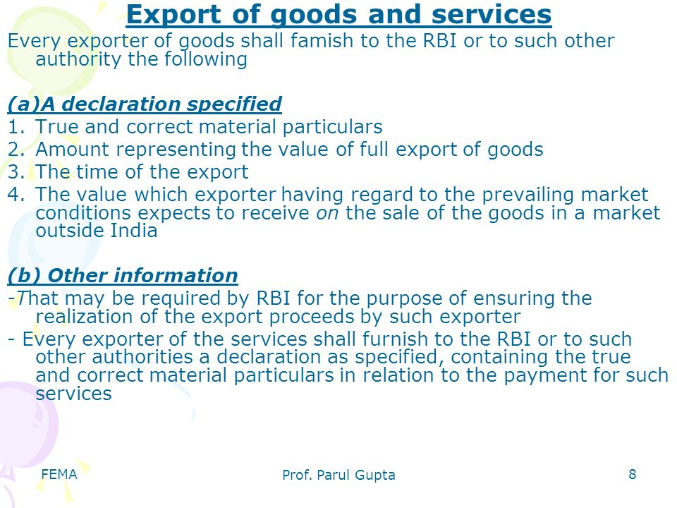Export of goods and services