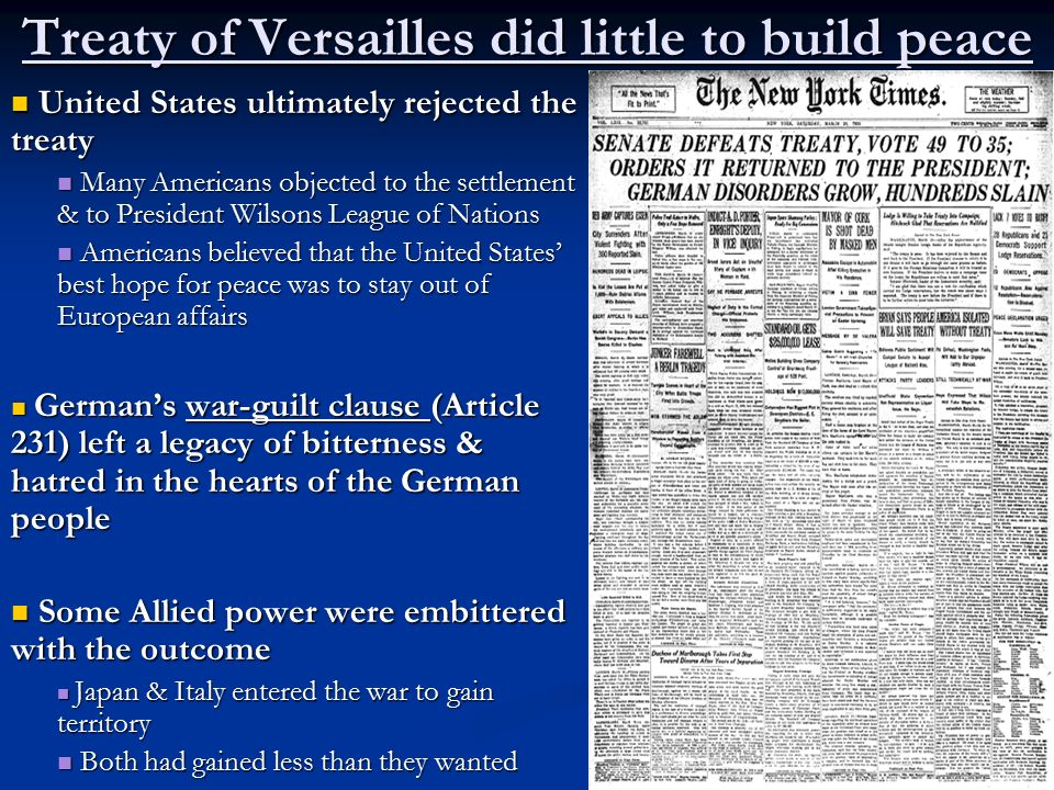 Treaty of Versailles did little to build peace