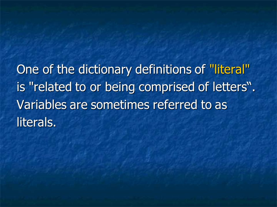 Literally definition