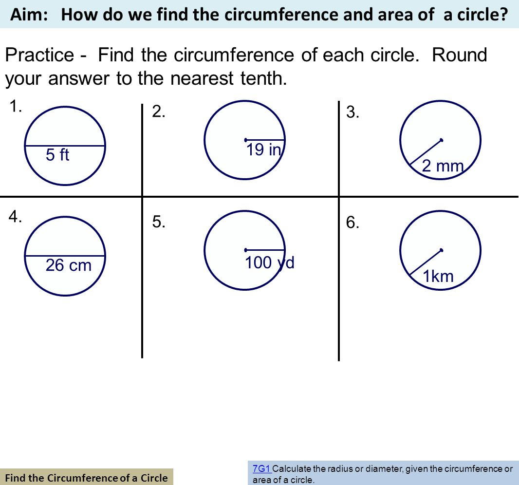 Practice  Find The Circumference Of Each Circle