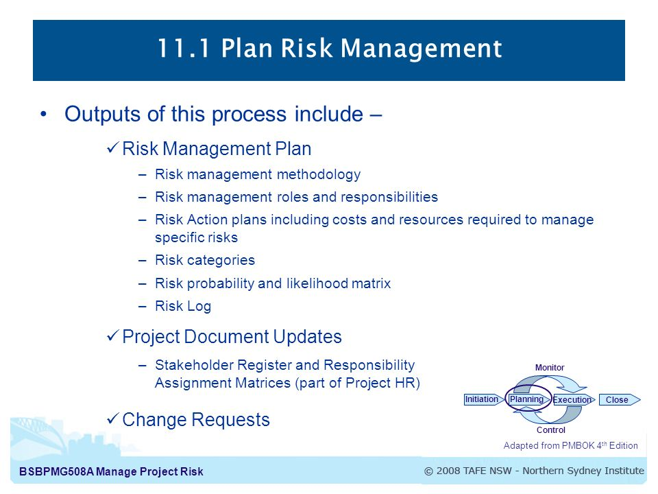 Plan Risk Management The Process Of Defining How To Conduct