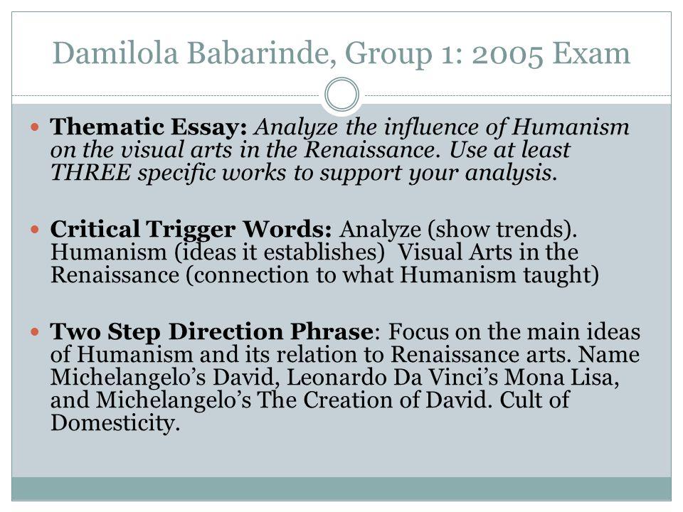 italian renaissance humanism essay example Longenecker, joe (social studies) renaissance essay questions  compare and contrast the humanism of the italian renaissance with the humanism of the north.