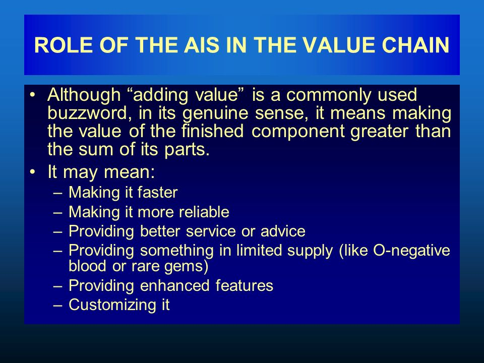 value chain key terms A value-chain is a high-level model of how businesses receive raw materials as input, add value to the raw materials, and sell finished products  related terms.