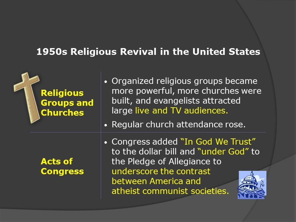 religious revival 1950s America's spiritual-industrial complex and the policy of revival in the early cold war jonathan herzog from the wide halls of congress to the serpentine corridors of the corporate bureaucracy, from the cabinet room to the boardroom, government and business leaders during the late 1940s and 1950s adopted a policy of religious revival.