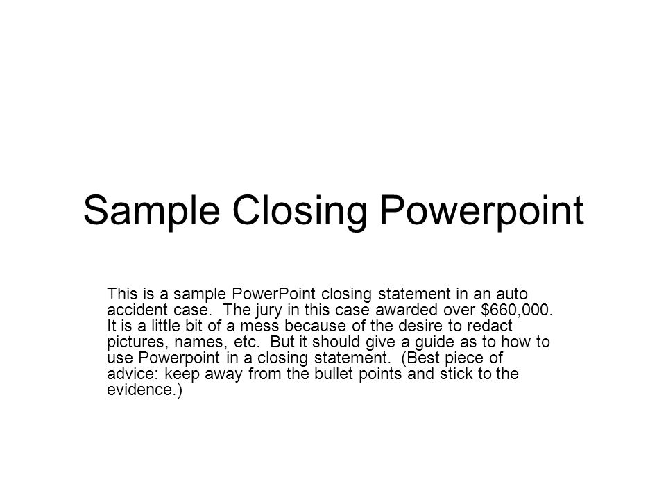 Sample Closing Powerpoint - Ppt Download