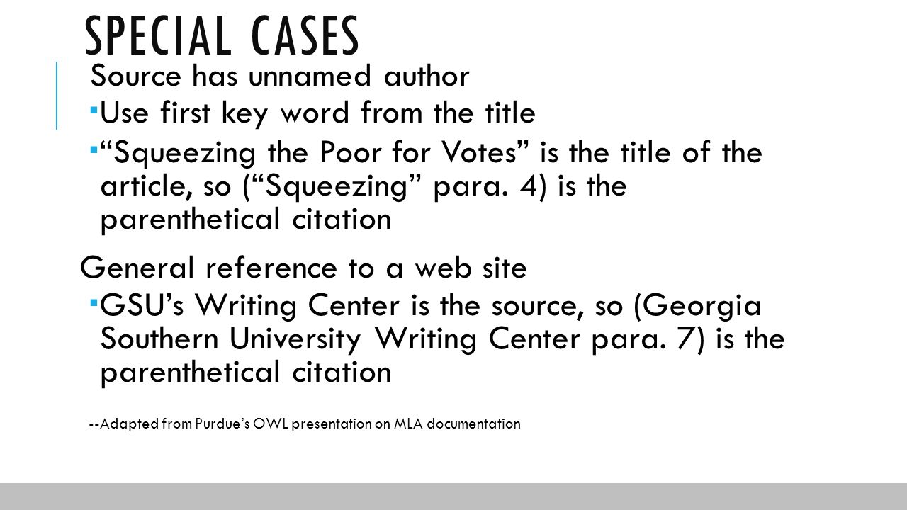 Bibliography Example Book How Special Cases Source Has Unnamed Author  Documentation In Mla Format Ppt Download