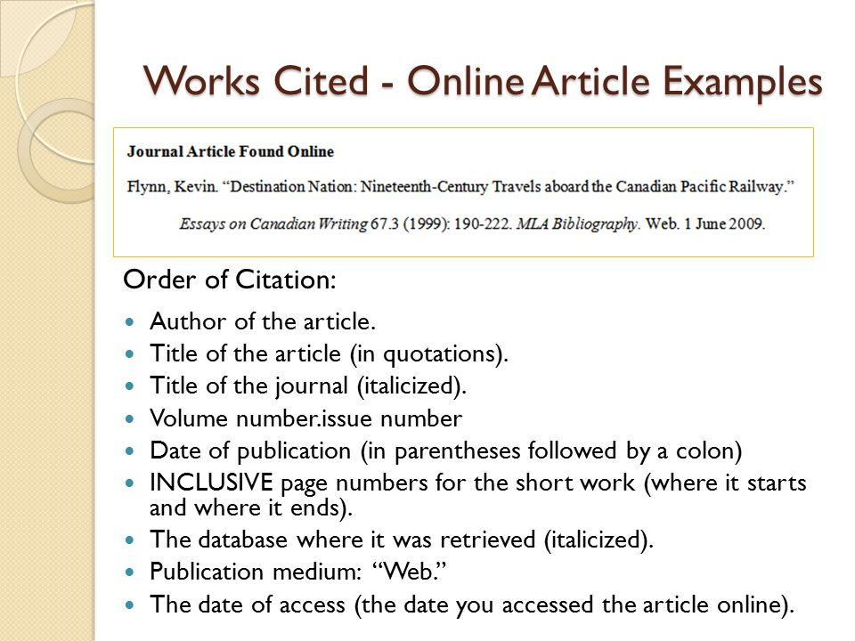 MLA CITATION EXAMPLES