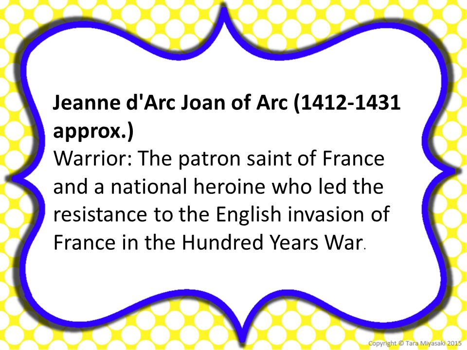 "a history of joan of arc a french saint and a heroine in the hundred years Joan of arc & the siege of orléans  it's a quick primer for joan of arc history, nicknamed ""the maid of orléans"" and considered a heroine of france and a roman catholic saint  and saint catherine instructing her to support charles vii and recover france from english domination late in the hundred years' war."