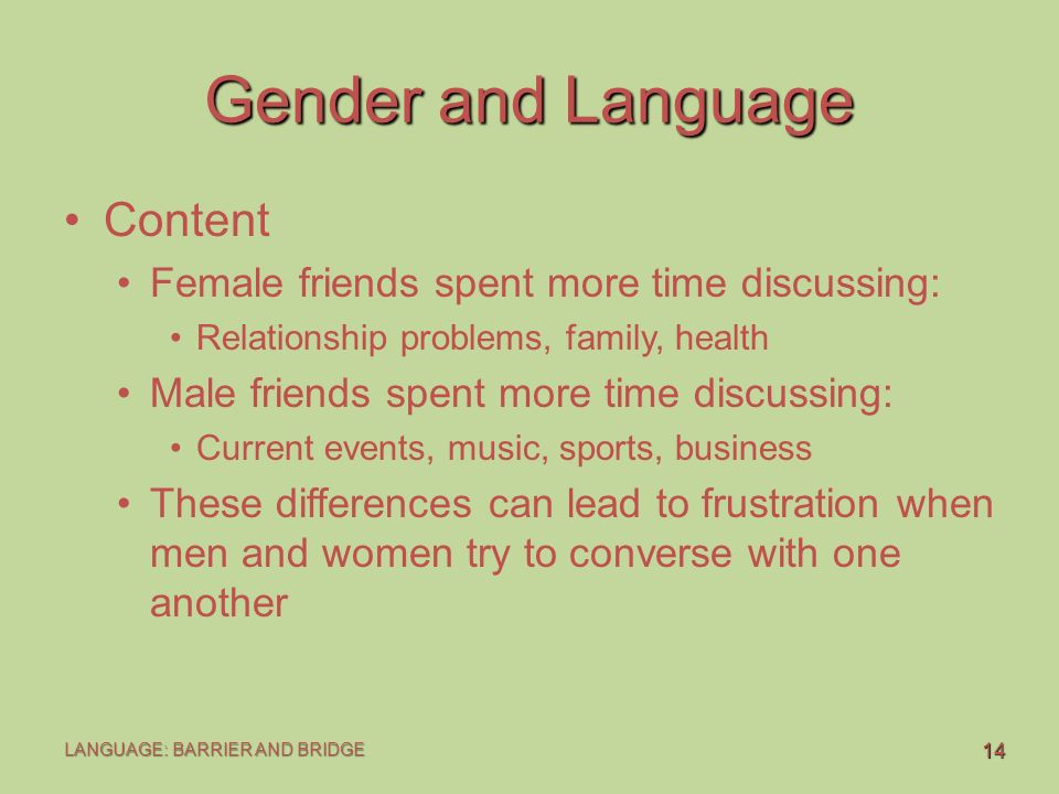 male and female language While at other times you may have felt unsure about your chances with a  potential female client and were pleasantly surprised that she chose to.