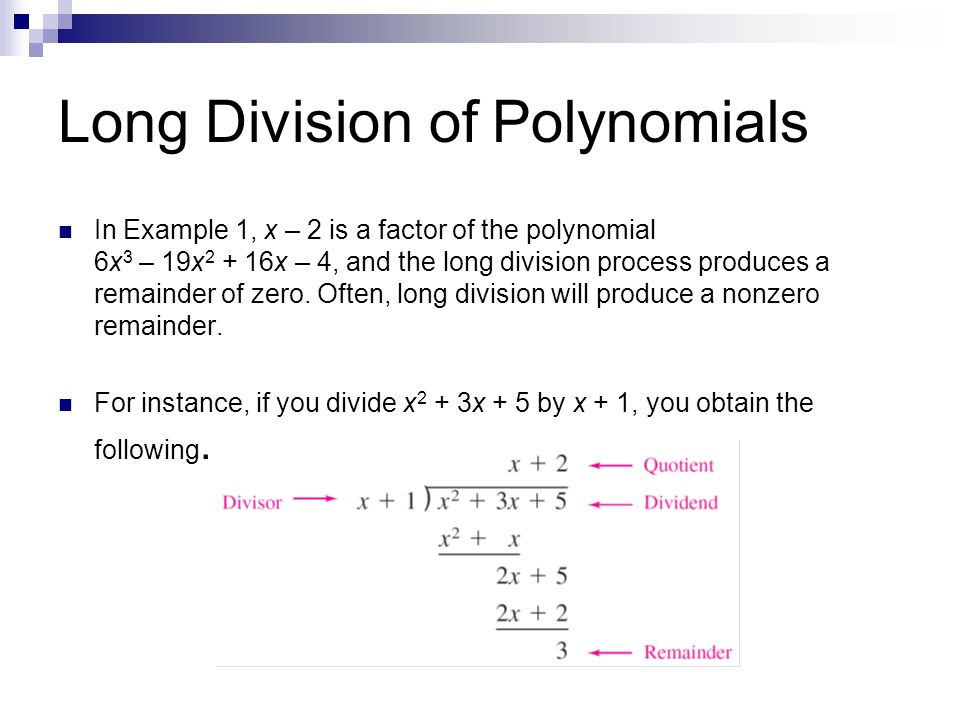 Polynomial long division and synthetic division ppt video online long division of polynomials ccuart Images
